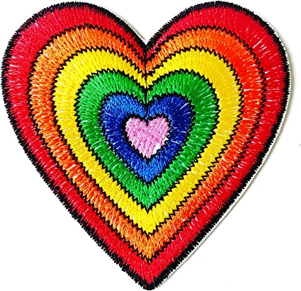 Rainbow with Heart Iron-On Applique Embroidered Sewing Fabric Embellishment
