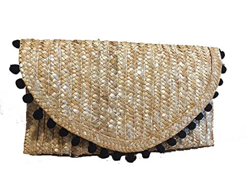 cartera de mano, Clutch, bolso de mano de palma en color natural con detalle de pompones ...