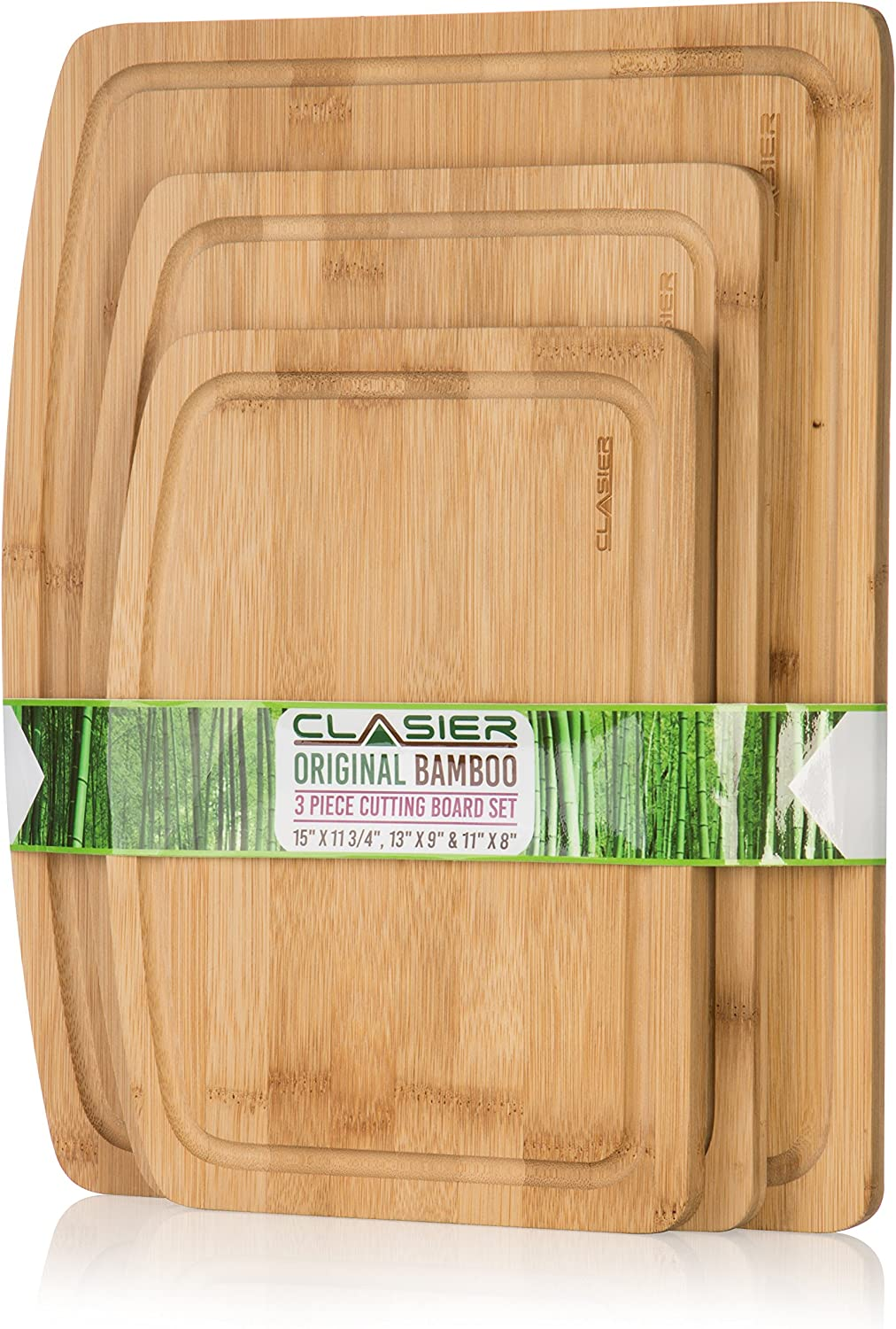 Premium Bamboo Cutting Boards for Kitchen Set of 3 - Eco-Friendly 100% Natural Bamboo Wooden Chopping Board with Juice Groove for Food Prep, Meat, Vegetables, Fruits, Crackers & Cheese - by Clasier