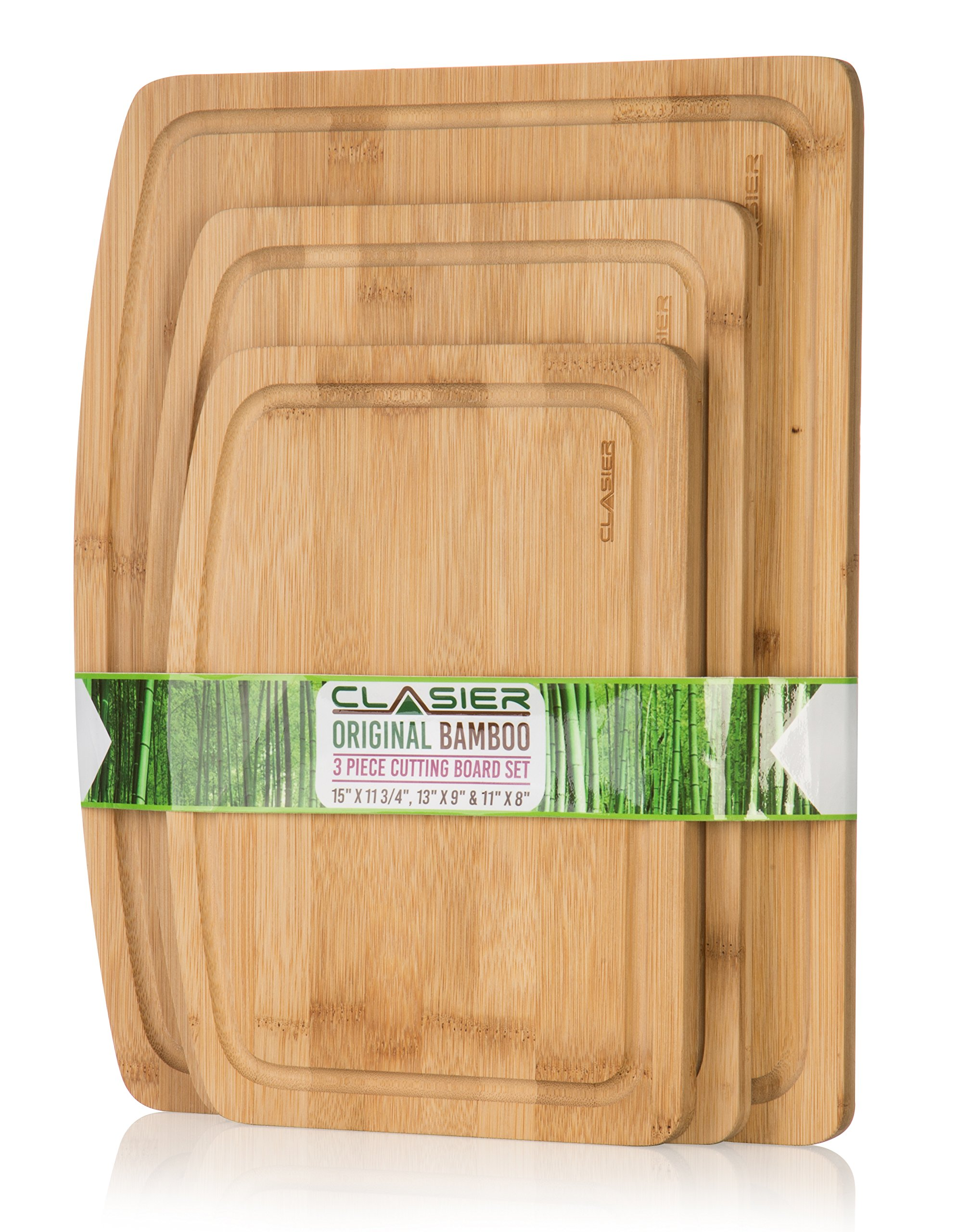 Premium Bamboo Cutting Boards for Kitchen Set of 3 - Eco-Friendly 100% Natural Bamboo Wooden Chopping Board with Juice Groove for Food Prep, Meat, Vegetables, Fruits, Crackers & Cheese - by Clasier by CLASIER
