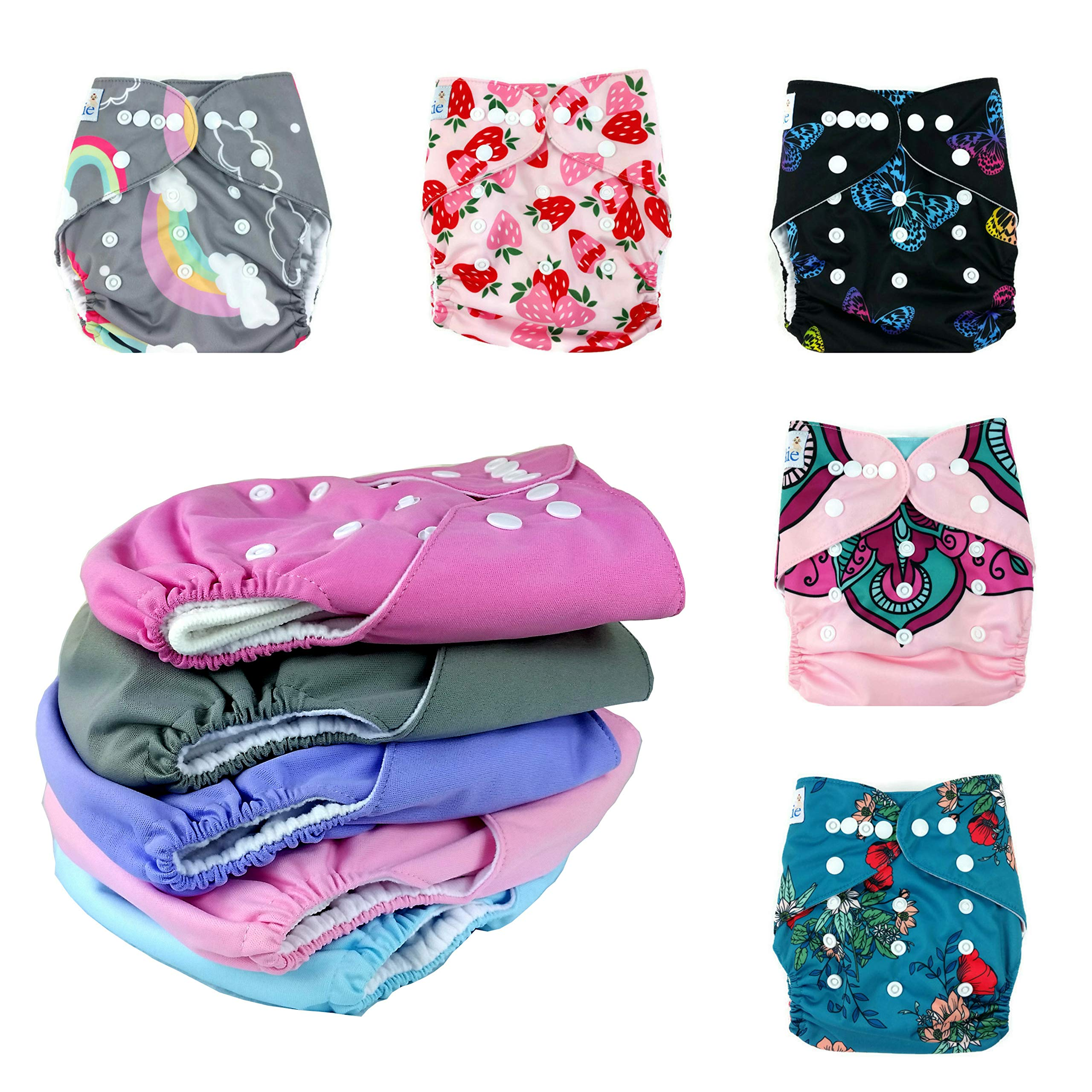 Nakie Baby Cloth Diapers| Pink Floral Girl Theme| 10 Diaper Set | 3-Layer Microfiber | Adjustable| Fits from 8lbs to 35lbs| Eco-Friendly| Washable| Reusable| Ultra-Soft