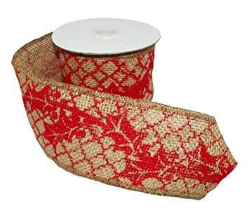 christmas ribbon gerson international christmas print burlap riobbon roll - Burlap Christmas Ribbon