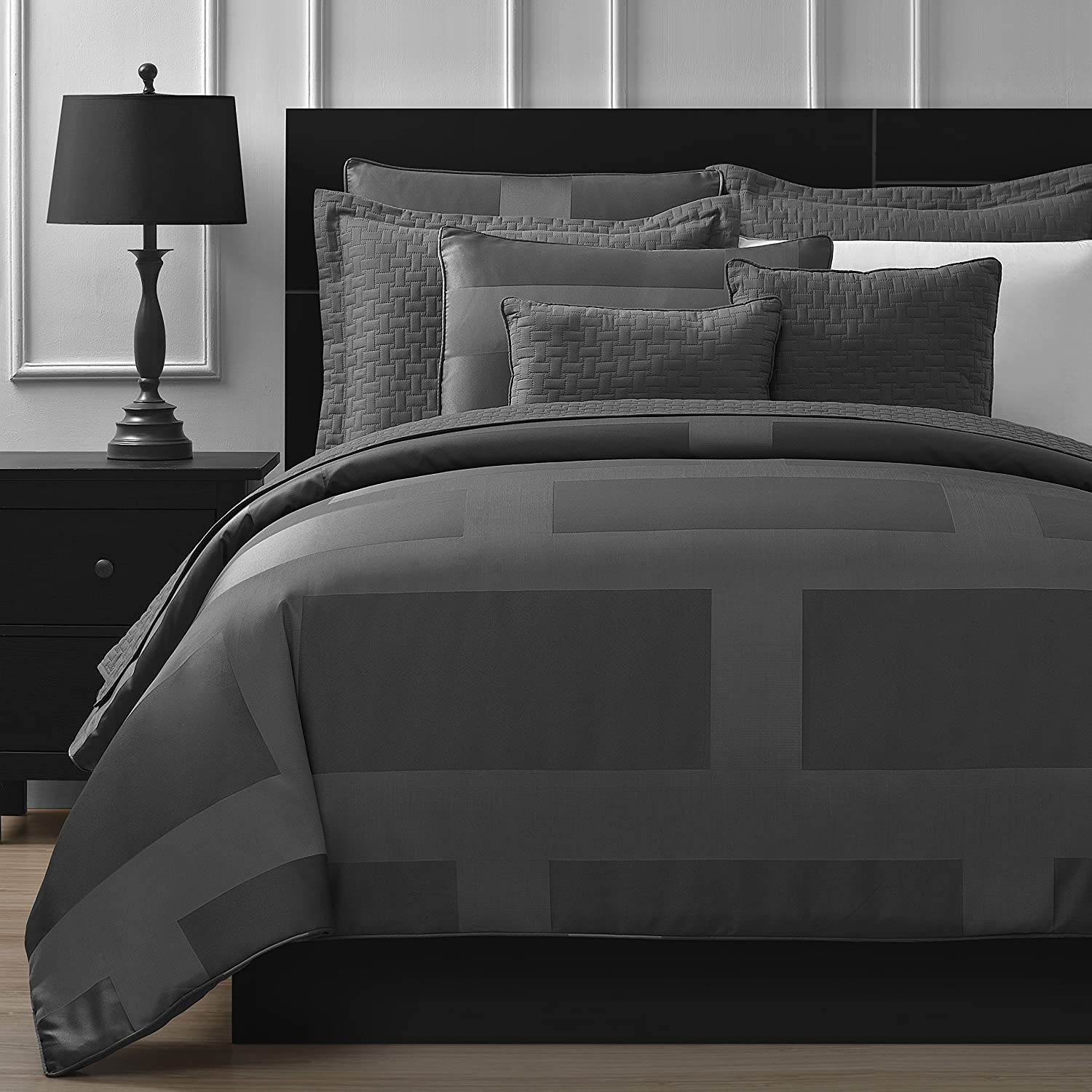 Comfy Bedding Frame Jacquard Microfiber King 8-piece Comforter Set, Gray