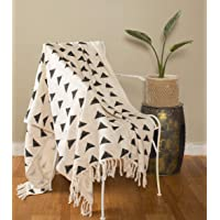 """Ravaiyaa - Attitude is everything Hand Loom Cotton Throw/Sofa Cover Hand Block Printed Unique Triangle Design Blanket 52"""" X 72"""" Inch (White)"""