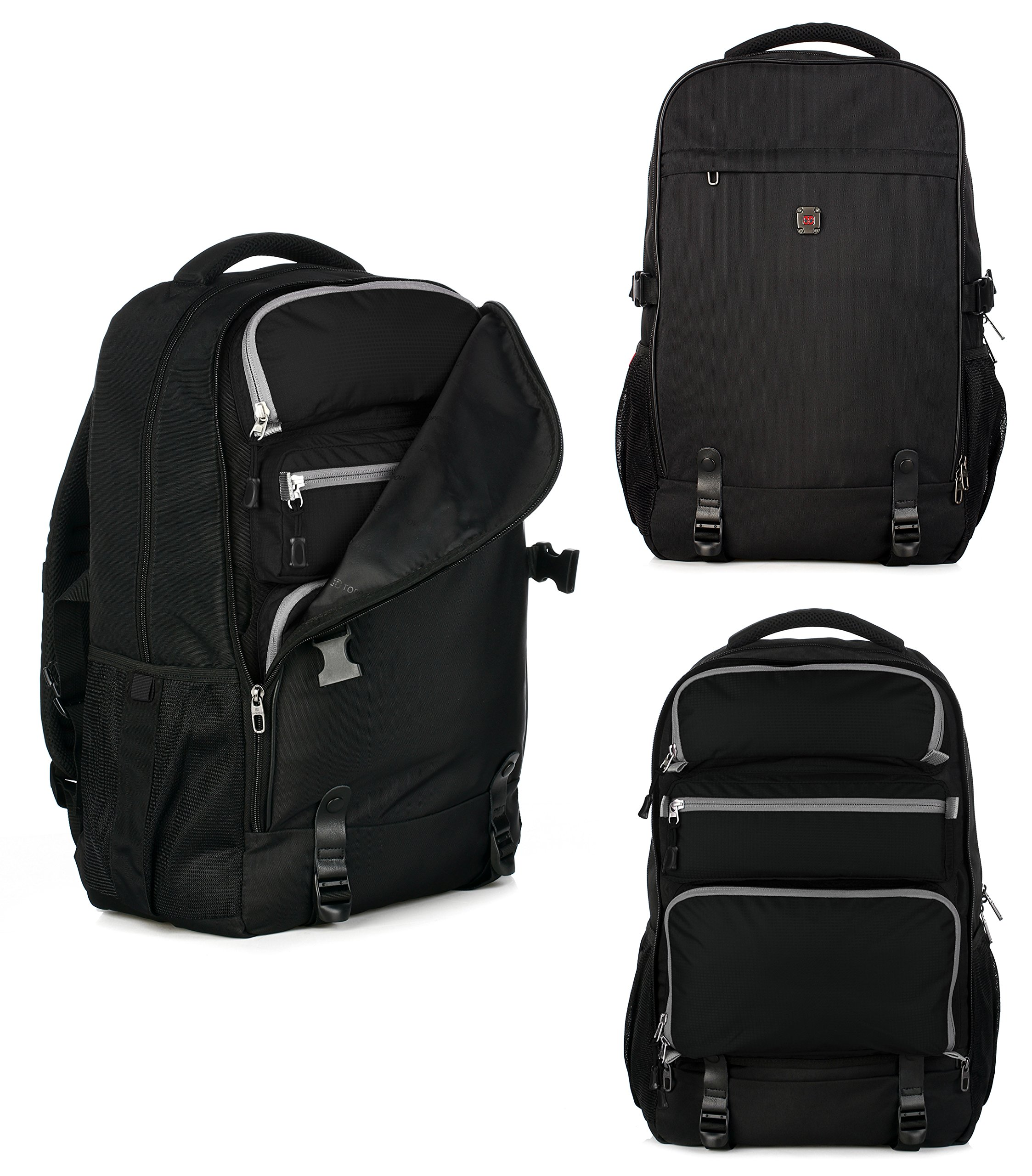 Top Power 8006 Transformable Convertible Carry-on Travel Backpack with Laptop Compartment-Black/black