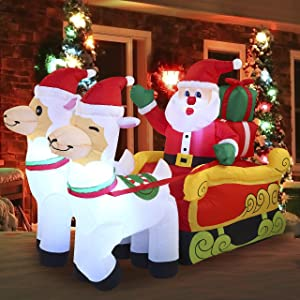 Joiedomi Christmas Santa Sleigh Inflatable 6 FT with Built-in LEDs Blow Up Inflatables for Christmas Party Indoor, Holiday Outdoor Decorations, Yard, Garden, Lawn Décor.