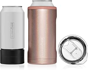 BrüMate HOPSULATOR TRíO 3-in-1 Stainless Steel Insulated Can Cooler, Works With 12 Oz, 16 Oz Cans And As A Pint Glass (Glitter Rose Gold)