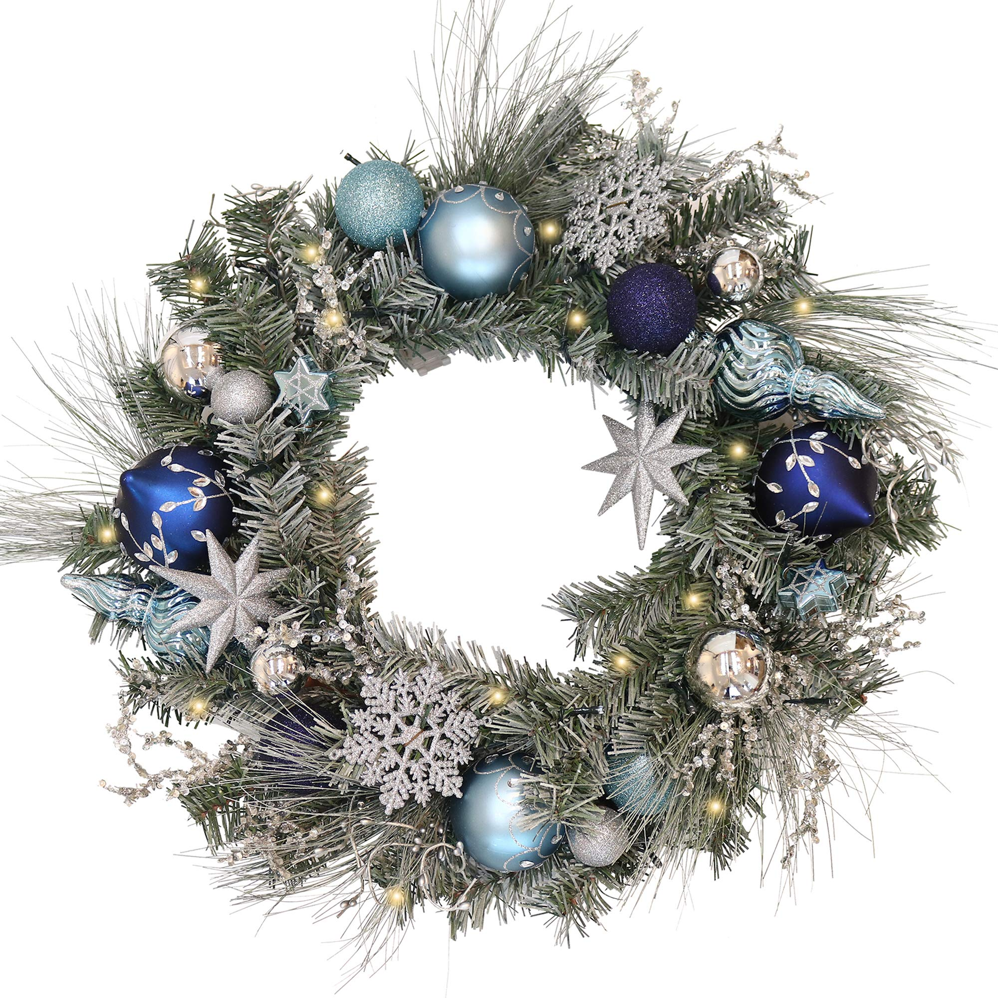 V&M VALERY MADELYN Christmas Wreath Pre-Lit 24'' Silver&Blue Artificial Greenery Frosted Spruce Wreath, Decorative Wreath with Christmas Ball Ornaments and Snowflake, Battery Operated 20 LED Lights.