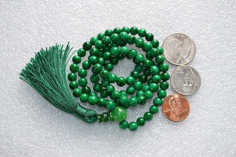 Free mala pouch included Energized buddhist meditation beads for nirvana chanting aum om awakening chakra kundalini USA Seller Green jade 6mm 108+1 prayer beads japa mala necklace