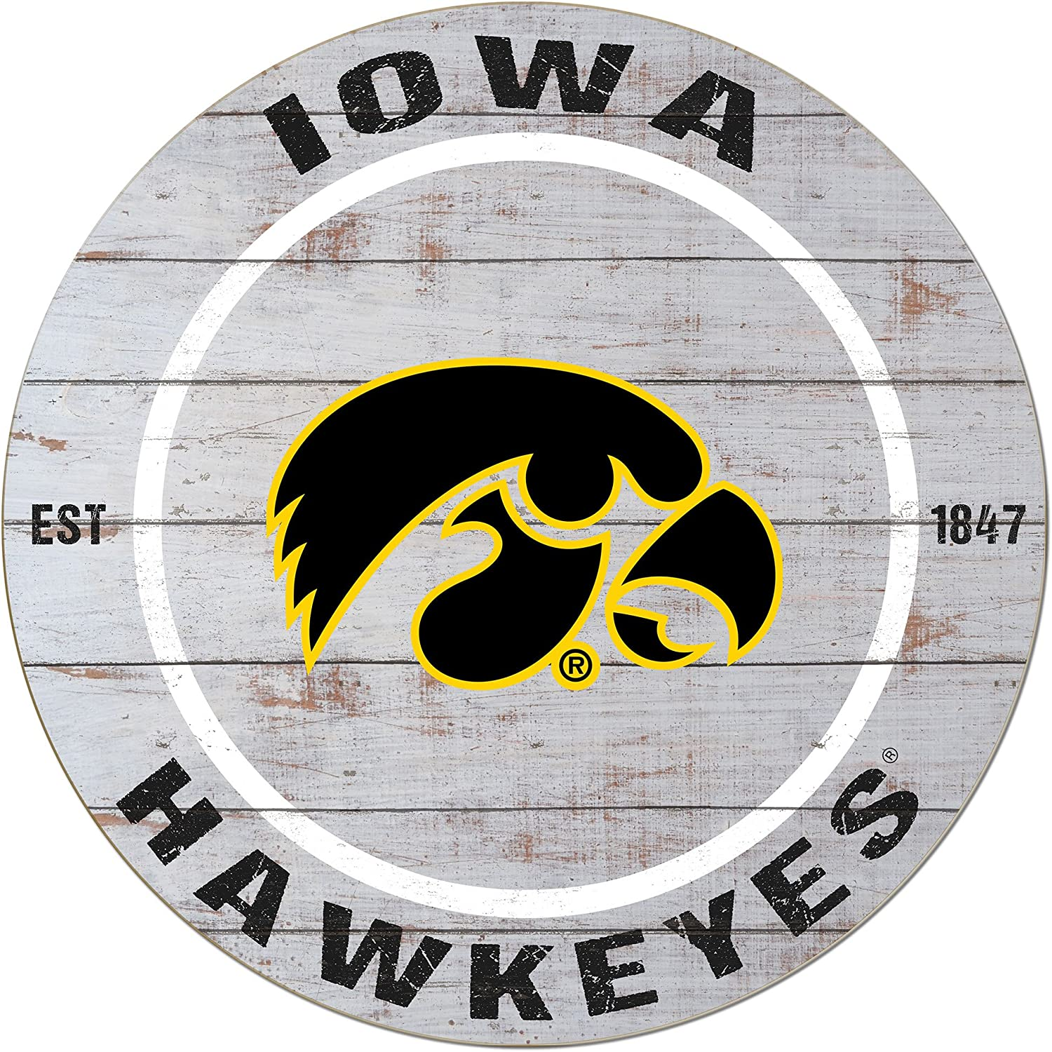 "KH Sports Fan 20""x20"" Iowa Hawkeyes Classic Weathered Circle Wall Sign"