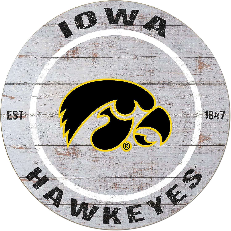 "KH Sports Fan 20""x20"" Iowa Hawkeyes Classic Weathered Circle Wall Sign"