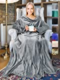 """Terrania Wearable Fleece Blanket with Sleeves and Pocket for Women Men, Super Soft Microplush Adult Wrap Full Body Blanket Robe for Lounge Couch As Seen On TV 73"""" x 51"""" 