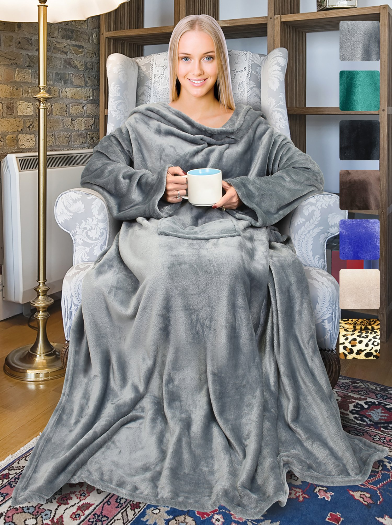Fleece Wearable Blanket with Sleeves and Front Pocket for Women Men, Super Soft Microplush Adult Comfy Throw with Sleeves for Lounge Couch Reading Watching TV 73'' x 51'' Grey
