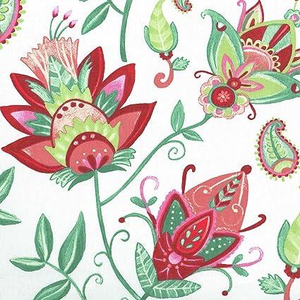Tessuto Fiori Esotici Sfondo Bianco Con Rosso Verde E Rosa 100