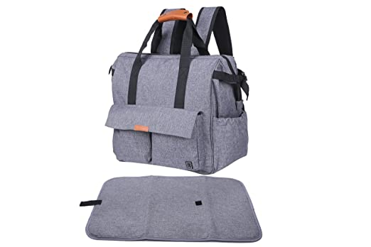 Baby Diaper Bag Backpack By LiraPax - Designer Travel Nappy Bag - Comfortable Stroller Straps - Unisex Gray Color
