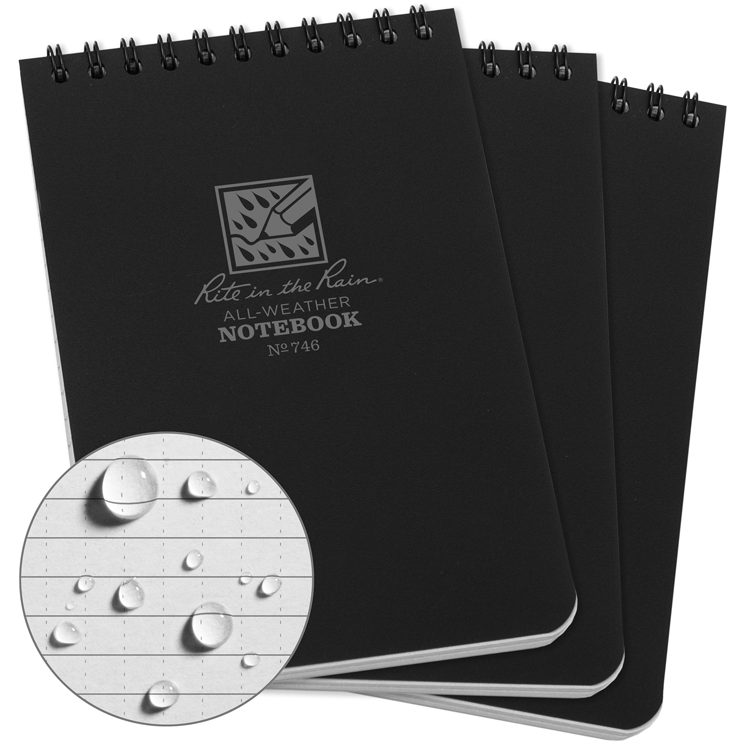 Rite in the Rain All-Weather Top-Spiral Notebook, 4'' x 6'', Black Cover, Universal Pattern (No. 746-3)
