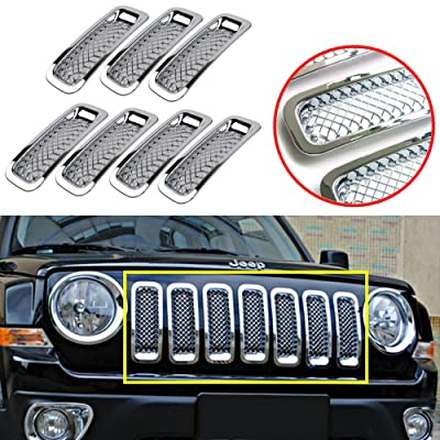 Latest 7PCS Front Grill Cover Mesh Grille Insert Kit For 2011-2016 Jeep Patriot (Silver 7PCS Mesh Insert): Automotive [5Bkhe1501965]