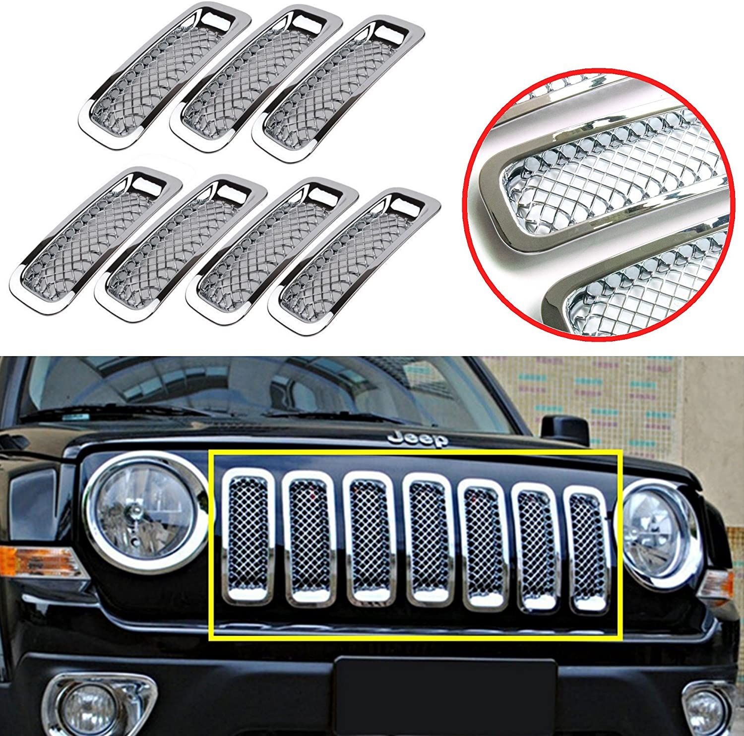 Bestong 7 Pcs Front Grill Insert Grille Cover Trim Kit for 2011-2017 Jeep Patriot Black, Mesh Grille