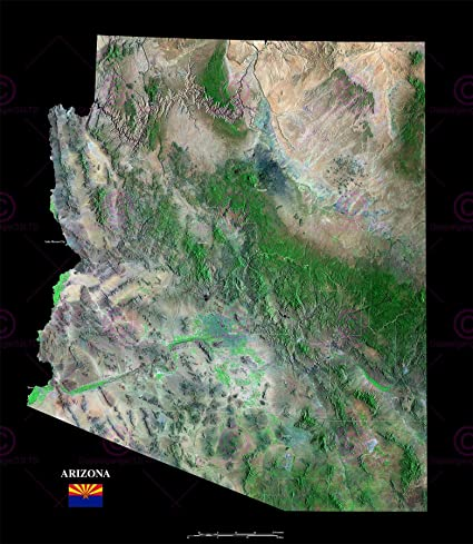 Satellite Map Of Arizona.Doppelganger33ltd Map County Satellite Usa State Flag Arizona Large Replica Poster Print Pam1358