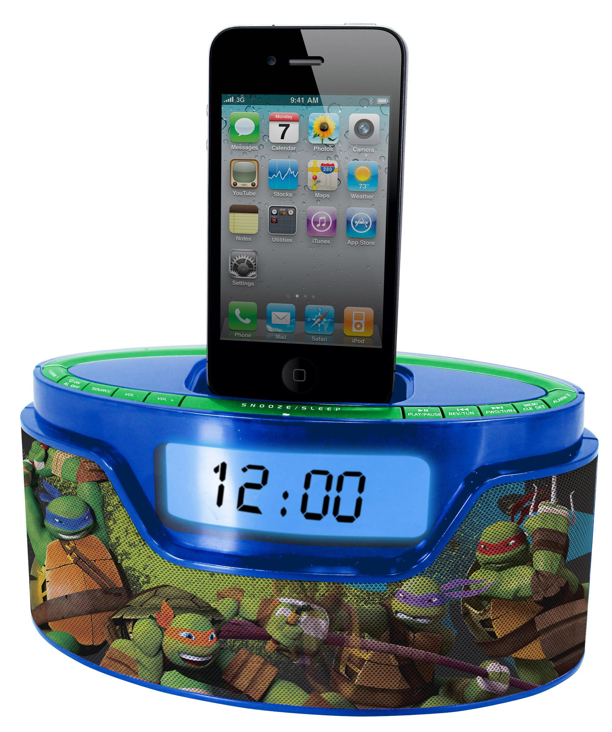 Nickelodeon Teenage Mutant Ninja Turtle iPod Clock Radio Dock (50265C-IPH) by Sakar