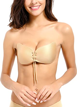 7a4b0a1010462 Rose LeMarc Fantasy Strapless Backless Drawstring Push up Bra - Golden  Caramel (Large  32C