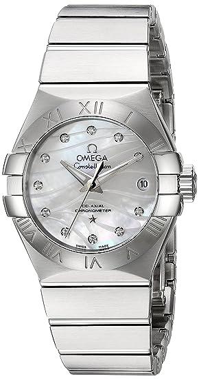 Omega Mujer Constellation acero inoxidable automático suizo reloj de vestido, color: silver