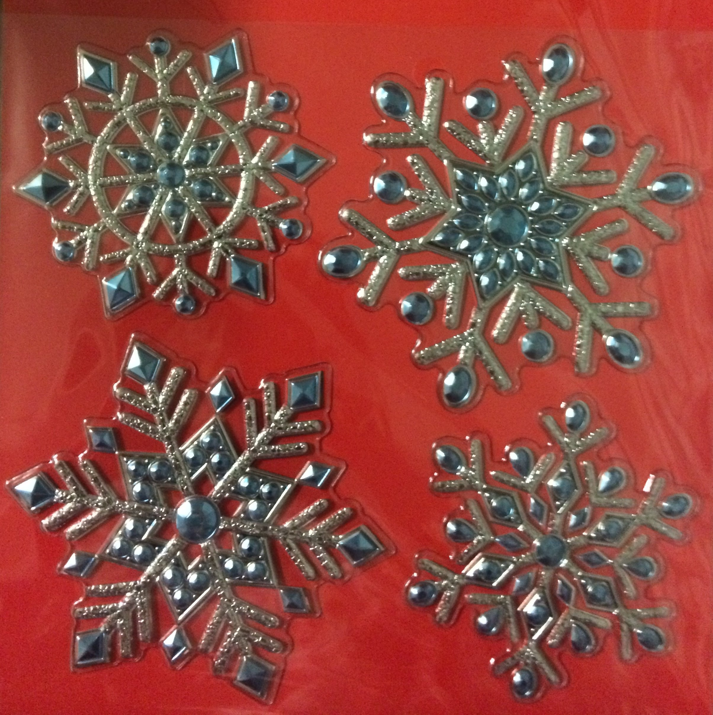 4 Deluxe Christmas Snowflake Stickers - Holiday Decorations - Silver and Blue