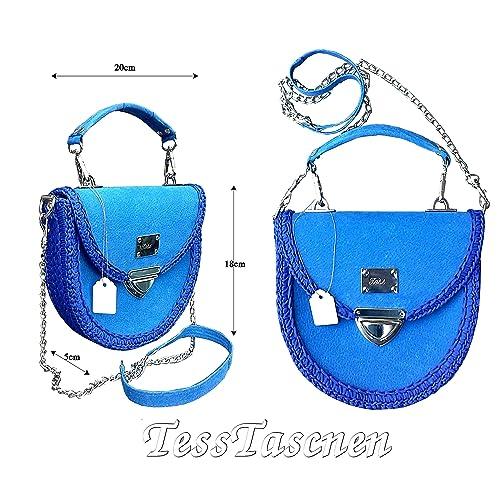 Damen runde Royalblaue kleine Leder Schultertasche.Blau