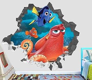 "Finding Nemo Dory Hank Adventure Wall Decal Smashed 3D Sticker Vinyl Decor Mural Movie Kids - Broken Wall - 3D Designs - OP435 (Small (Wide 22"" x 16"" Height))"