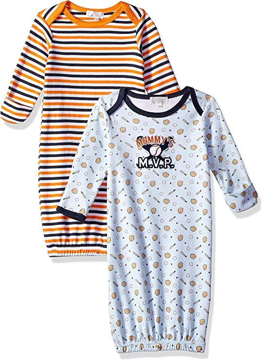 Quiltex Boys Toddler Mommys MVP Sleeper Gowns 2 Pack Set