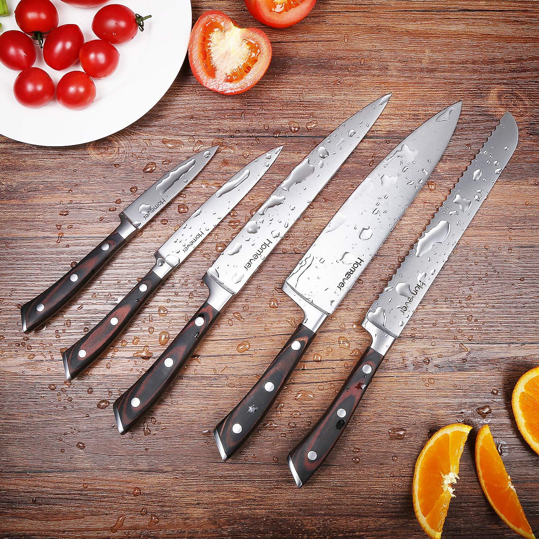 Juego de cuchillos, Homever juego moderno de bloques de cuchillos de acero inoxidable de 6 piezas