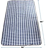 Extra Large Outdoor Blue and White Plaid Picnic Blanket   Fleece & Waterproof   For Soccer Mom, Family, Park, Sports, Beach, Camping or Backyard   Size 96 x 58 Inches   Design By Titan Recreation