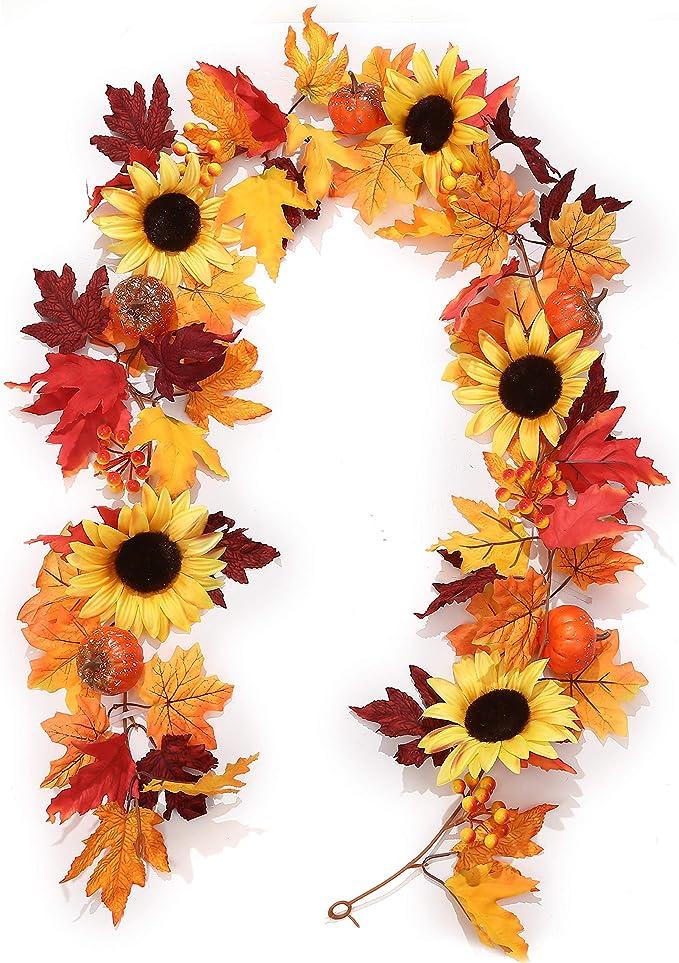 lovefei 6 feet Artificial Maple Leaf Berries Sunflower Pumpkin