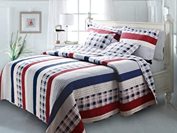 greenland home fashions nautical stripes quilt set fullqueen - Greenland Home Fashions
