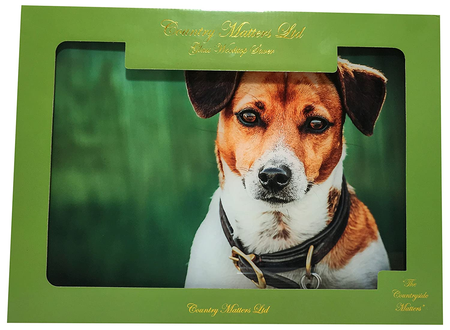 COUNTRY MATTERS Jack Russell Glass Work Top Saver, Multi-Colour, 40 x 30 x 0.05 cm CMGWS0124
