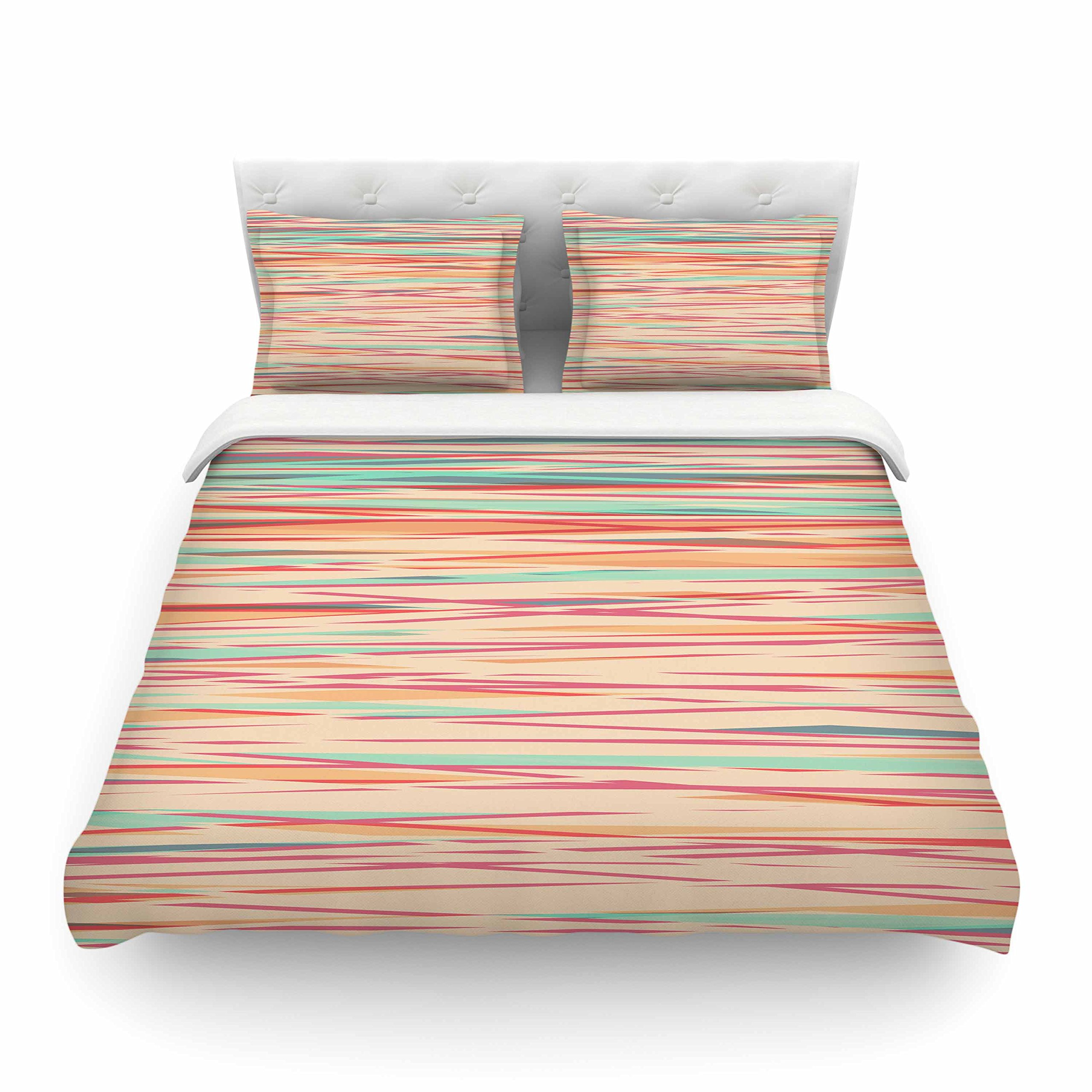 Kess InHouse Michelle Drew ''Stripy Wood Bark'' Orange Red Cotton Queen Duvet Cover, 88 x 88''