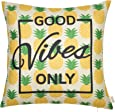 """Fjfz Good Vibes Only Pineapple Motivational Sign Inspirational Quote Cotton Linen Home Decorative Throw Pillow Case Cushion Cover with Words for Sofa Couch, Gold Yellow, 18"""" x 18"""""""