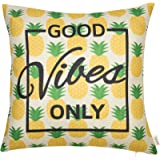 "Fjfz Good Vibes Only Pineapple Motivational Sign Inspirational Quote Cotton Linen Home Decorative Throw Pillow Case Cushion Cover with Words for Sofa Couch, Gold Yellow, 18"" x 18"""