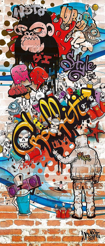 murimage Papier Peint Porte Graffiti 86 x 200 cm photo mural Brique Pierre Color/é Jeunesse chambre Enfants Rustique wallpaper colle inclus