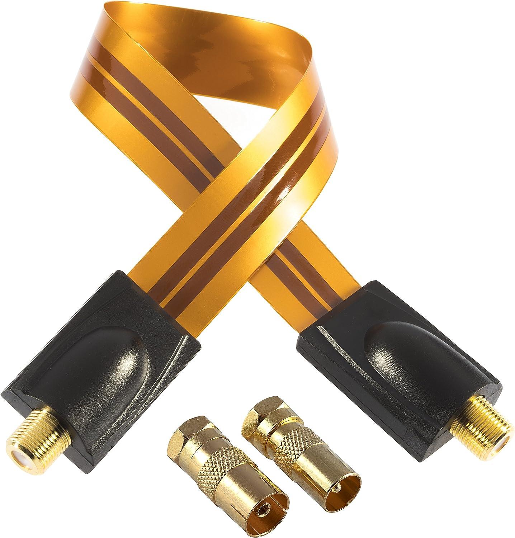 Poppstar - 1x 28cm Cable pasaventanas Sat (coaxial, Muy Plano 0,2mm), 2X Conector F (1x Conector de Antena IEC, 1x Toma), para Ventanas - Puertas, ...