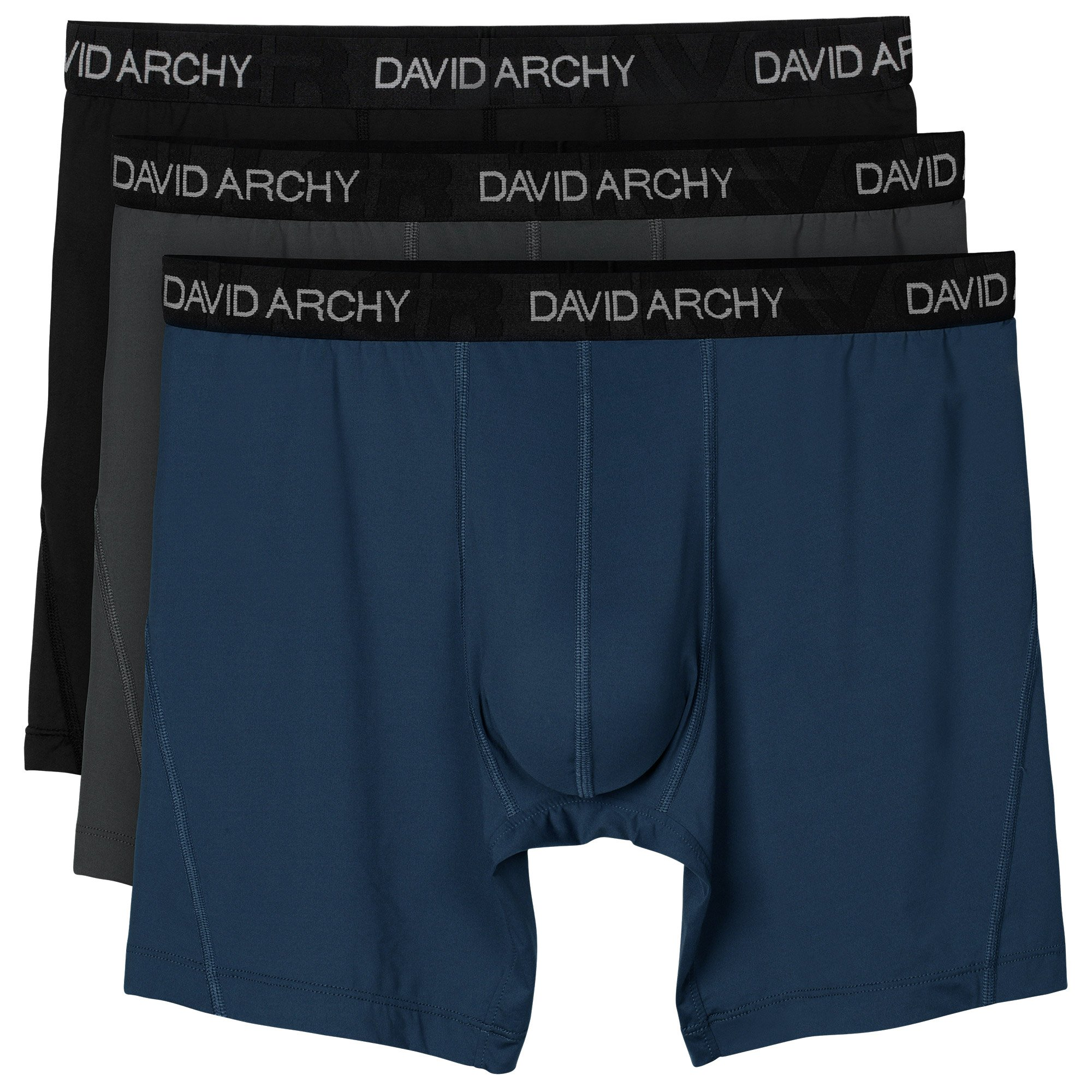David Archy 3 Pack Men's Ultra Fast Dry Performance Boxer Briefs (L, Black/Dark Gray/Navy Blue-Solid)