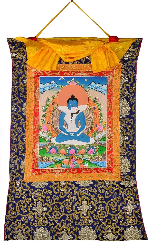 BUDDHAFIGUREN Billy Held Thangka Samantabhadra und Samantabhadri handgemaltes tibetisches Meditationsbild in gehobener Qualität mit Brokatrahmen 85 cm x 58 cm