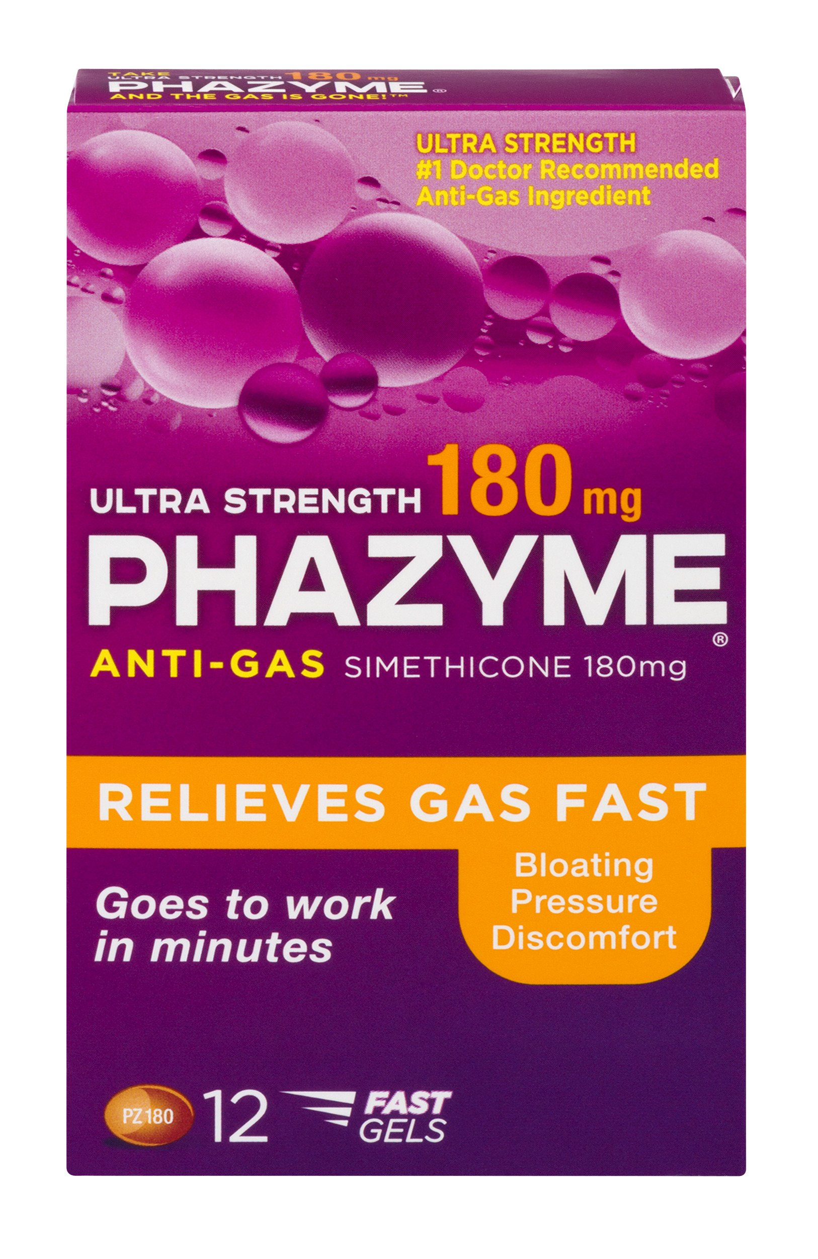 Phazyme Ultra Strength Gas and Bloating Relief | 180 Mg | 12 Fast GELS | 24 Pack by Phazyme