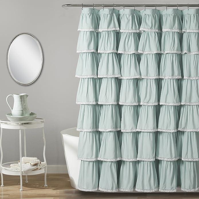 """72""""x72"""" Ruffle Shower Curtain Blue - Lush Décor"""
