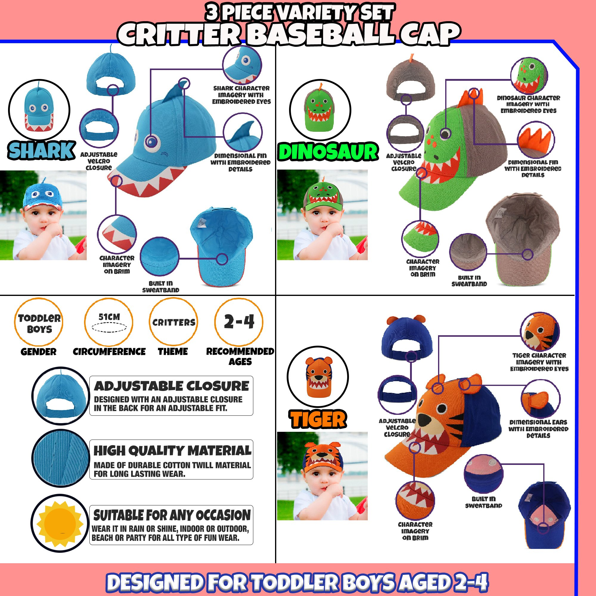 ABG Accessories Toddler Boys Cotton Baseball Cap with Assorted Animal Critter Designs, Age 2-4 (3 Piece Variety Design Pack) by ABG Accessories (Image #2)