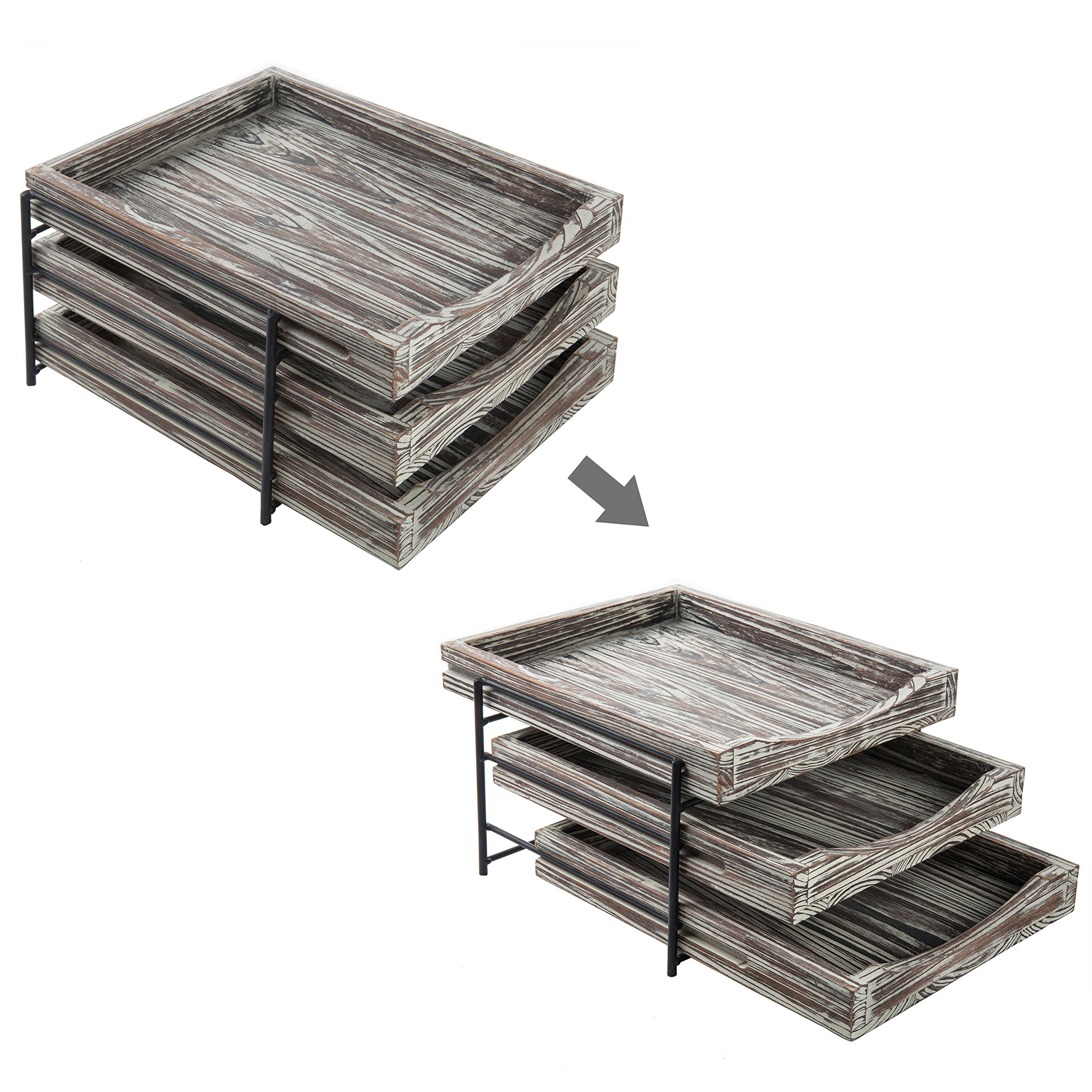 MyGift 3-Tier Rustic Torched Wood & Black Metal Document Organizer with Sliding Trays by MyGift (Image #5)