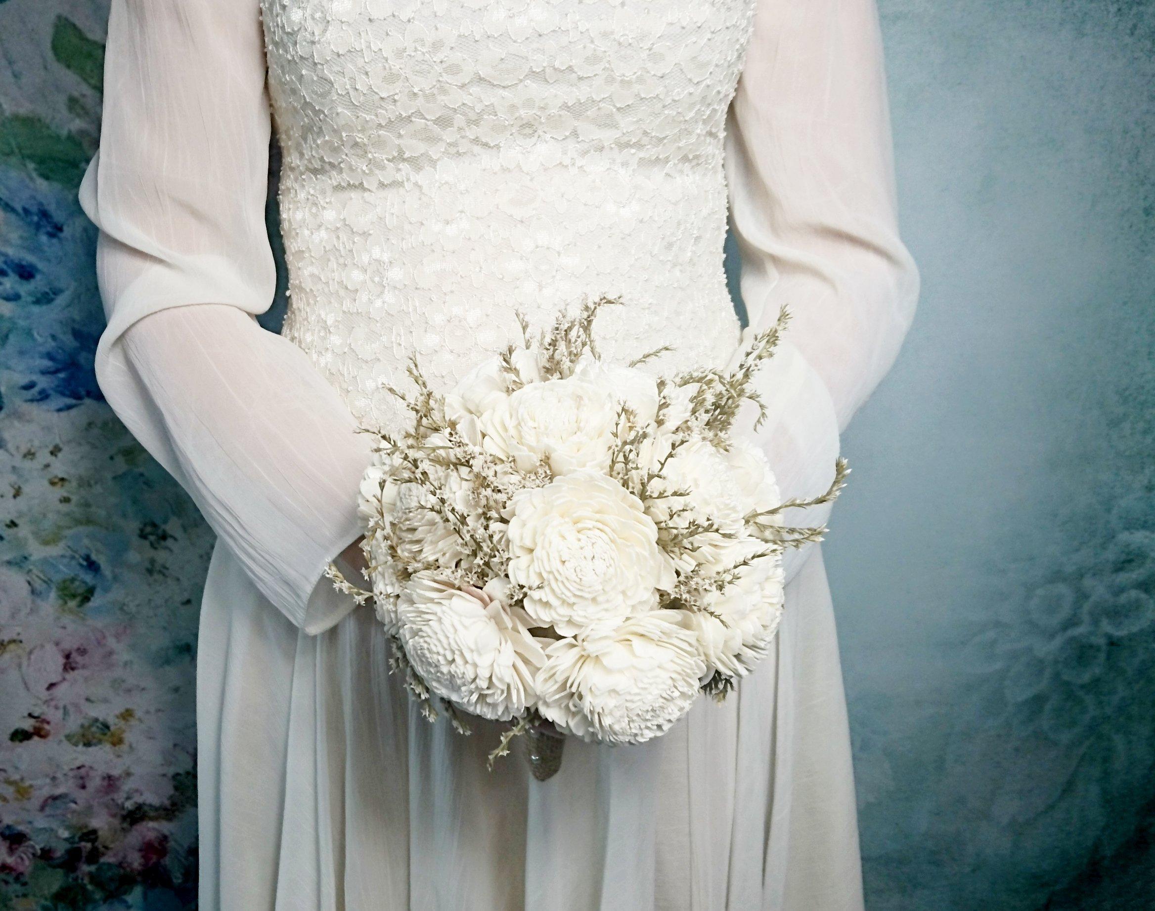 Medium Ivory Rustic Sola Flowers Wedding Bouquet