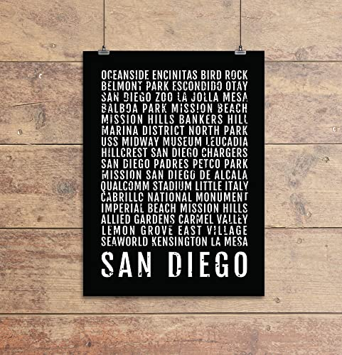 San Diego Print Neighborhoods Subway Sign Poster Wall Art Décor Canvas Word Map Gift Bus Scroll Typography Minimal Custom Personalized Handmade
