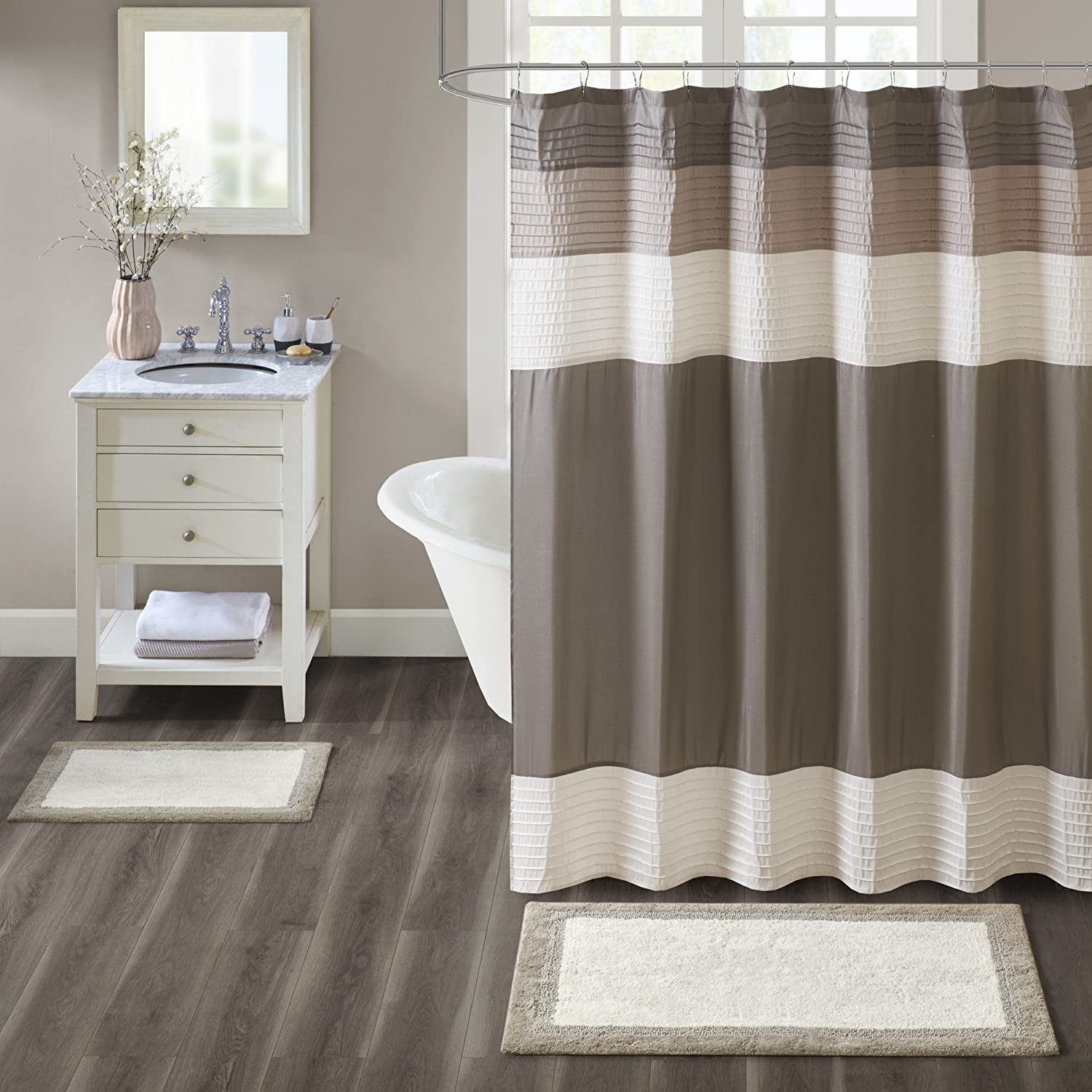 Madison Park Amherst Bathroom Rugs Room Décor 100% Cotton Tufted Ultra Soft Non-Slip, Absorbent Quick Dry Bathtub Mats, 27x45, Taupe