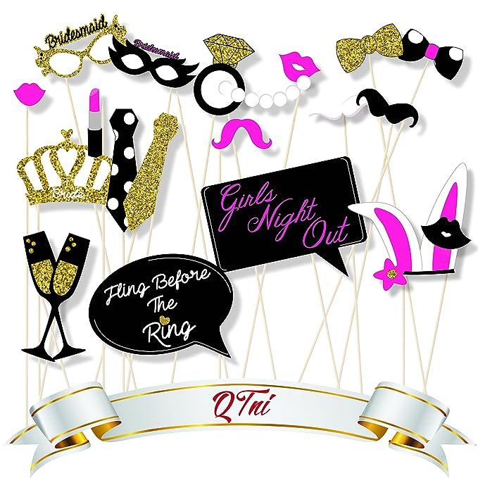 qtni Bachelorette Party Photo Booth Prop Set de 22 con purpurina ...
